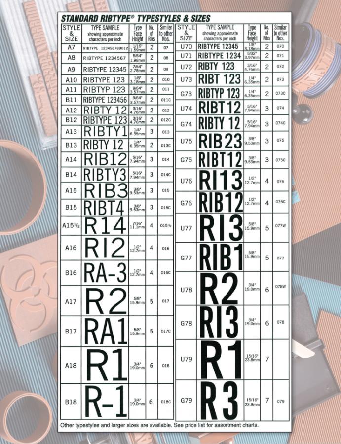 Ribtype Typestyle & Size Chart