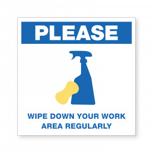 PMWORKAREA - SAFETY AWARENESS SIGN WIPE DOWN WORK AREA